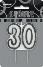 30th Birthday Black & Silver Glitter Cake Candle
